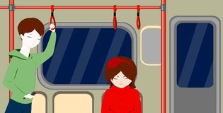 People in metro. Boy and girl. Teenagers in train. Situation. Cartoon characters flat style vector illustration.Children inside a subway train. People metro Royalty Free Stock Photography