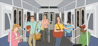 People in a metro train. Passangers In Subway. Public Transport Royalty Free Stock Photo