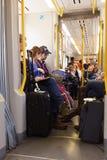 People in the metro train in Porto, Portugal Stock Photos