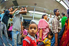 People in the metro yellow line Royalty Free Stock Images