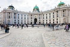 People on Michaelerplatz square, Vienna Royalty Free Stock Photography