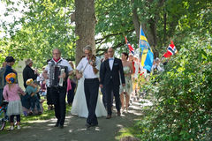 People at Midsummer celebrations Royalty Free Stock Photos
