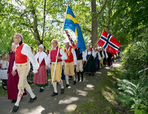 People at Midsummer celebrations Stock Images