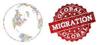 Migration Composition of Mosaic Global Map of World and Textured Seal Stamp stock illustration