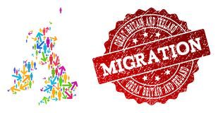 Migration Composition of Mosaic Map of Great Britain and Ireland and Textured Stamp vector illustration