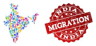 Migration Composition of Mosaic Map of India and Scratched Stamp stock illustration