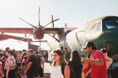 People at the military air base to visit the Portoes Abertos Ala. Campo Grande, Brazil - September 09, 2018: People at the military air base to visit the Portoes stock photo