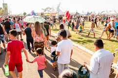 People at the military air base to visit the Portoes Abertos Ala. Campo Grande, Brazil - September 09, 2018: People at the military air base to visit the Portoes stock photography