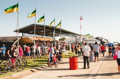 People at the military air base to visit the Portoes Abertos Ala. Campo Grande, Brazil - September 09, 2018: People at the military air base to visit the Portoes stock image