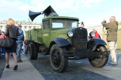 People and military campaign agitation truck of the Second World War Stock Photo