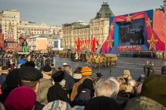 People on Military parade dedicated to the hisorical parade held stock photo