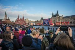 People on Military parade dedicated to the hisorical parade held royalty free stock photo