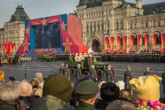 People on Military parade dedicated to the hisorical parade held royalty free stock image