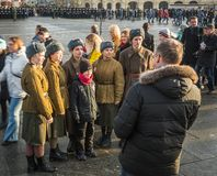 People on Military parade dedicated to the hisorical parade held stock photos
