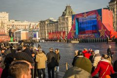 People on Military parade dedicated to the hisorical parade held royalty free stock photos