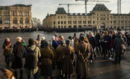 People on Military parade dedicated to the hisorical parade held royalty free stock photography