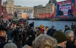 People on Military parade dedicated to the hisorical parade held stock image