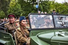 People in military uniform in honor of the Victory Day holiday. Royalty Free Stock Photos