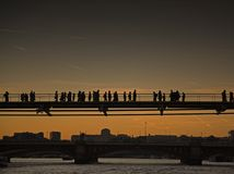 People on Millennium bridge Royalty Free Stock Photo