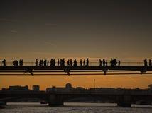 People on Millennium bridge Royalty Free Stock Photo