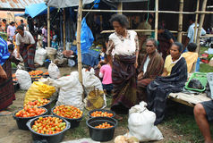 People of minoritary ethnic group in a market of Indonesia Royalty Free Stock Photography