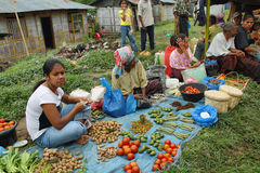 People of minoritary ethnic group in a market of Indonesia Stock Photo