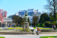 People in the Mirabell park. People are relaxing in the Mirabell parks, Salzburg Royalty Free Stock Photography