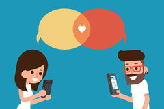 People with mobile message chat bubble. stock illustration