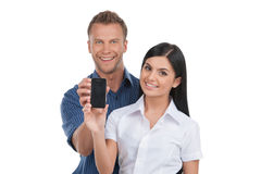 People with mobile phone. Royalty Free Stock Image