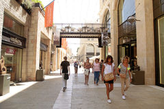 People at modern Mamilla shopping mall  in Jerusalem, Israel. Stock Image