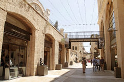 People at modern Mamilla shopping mall  in Jerusalem, Israel. Royalty Free Stock Photography