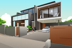 People in a modern style house Royalty Free Stock Photo