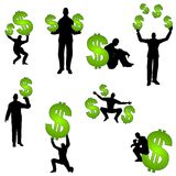 People With Money Dollar Signs. An illustration featuring a selection of male silhouette figures with money including holding, lifting, juggling, and sitting Royalty Free Stock Photography
