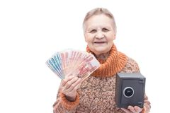People with money and safe Stock Photography