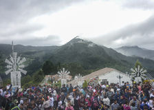 People at Monserrate Basilica in the city of Bogota Colombia Royalty Free Stock Images