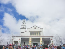 People and Monserrate Basilica in the city of Bogota Colombia Stock Photo