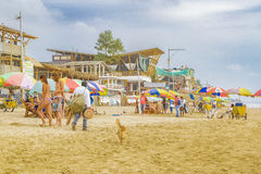 People at Montanita Beach Ecuador Royalty Free Stock Image