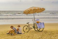 People at Montanita Beach Ecuador Stock Images