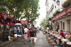People at Montmartre in Paris. PARIS, FRANCE – SEPTEMBER 2016: People at Place du Tertre on Montmartre in Paris in France Royalty Free Stock Photos