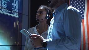 People in Moon flight center