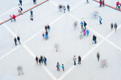 People motion blur, aerial view Stock Images