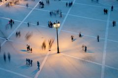 People motion blur aerial view Royalty Free Stock Photography