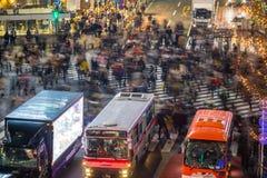 People in motion blur crossing street in Shibuya. Tokyo royalty free stock photo
