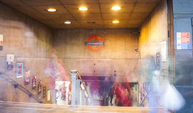 People in motion at London Underground station, rush hour photo. United Kingdom Royalty Free Stock Photography