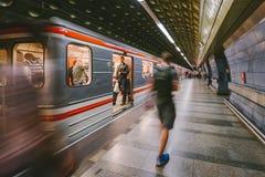 People in Motion. Prague metro. Czech Republic Royalty Free Stock Photo