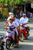 People on the motorbike on the road in Ubud. Landscapes of Indonesia. royalty free stock photo