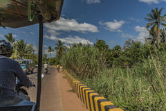 People on motorbike in street and countryside in Siem Reap Royalty Free Stock Photo