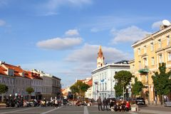 People and motorbikes at the Town Hall Square in Vilnius, Lithuania Royalty Free Stock Photography