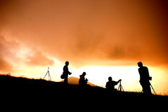 People in the mountain. Sunset royalty free stock image