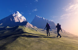 People in the mountains. Royalty Free Stock Photo